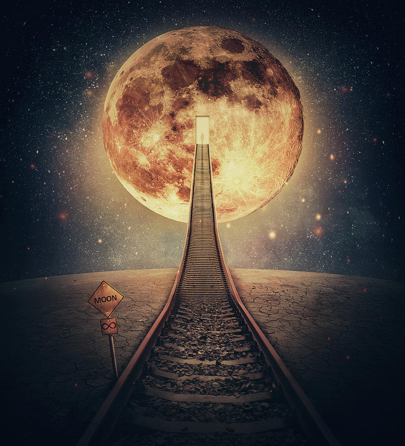 Surreal Scene And A Railway Leading Up To The Moon. Imaginary Ni Digital Art