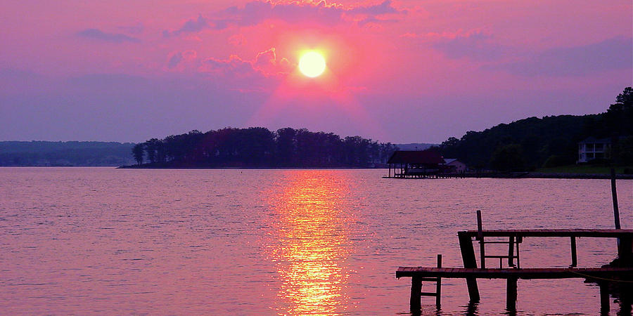 Surreal Smith Mountain Lake Sunset by JAMES RONEY