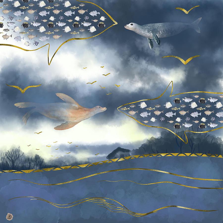 Clouds Digital Art - Surreal Snowstorm by Andreea Dumez