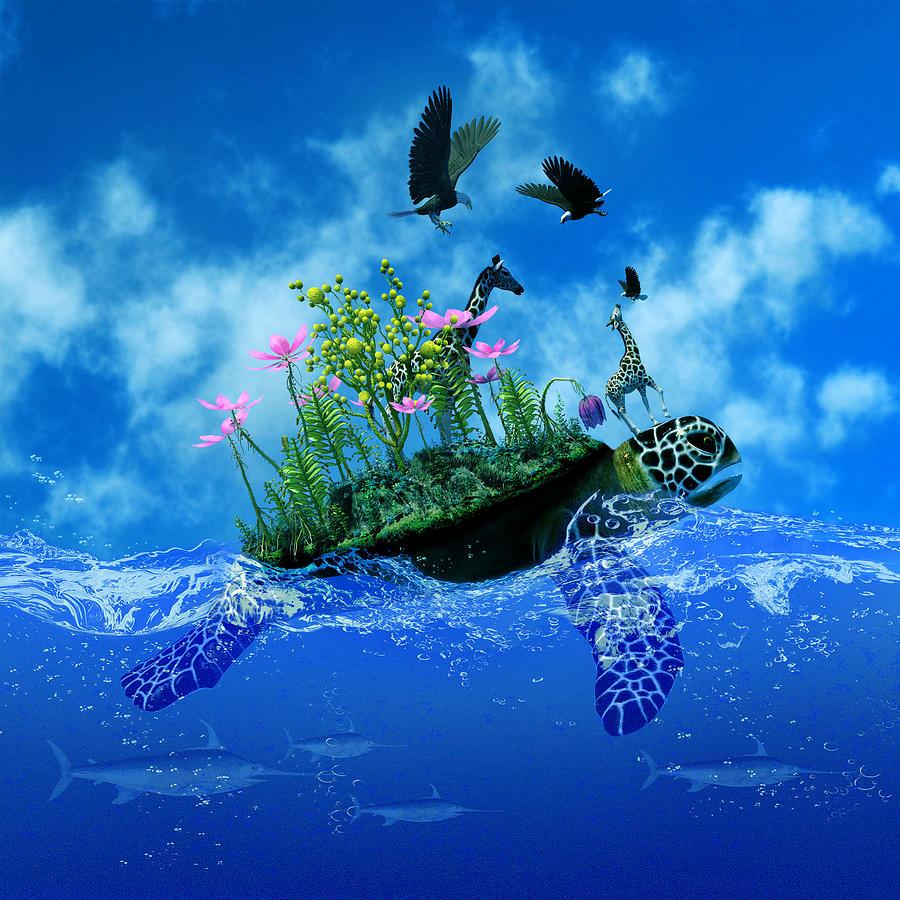 Surreal Turtle With Island And Giraffe On Back Digital Art