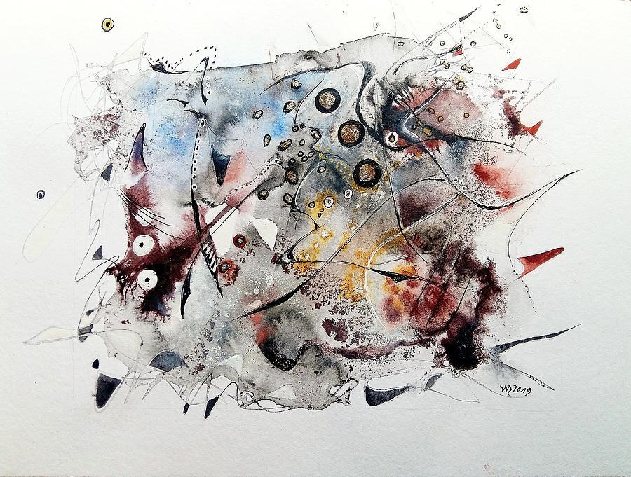 Inks Mixed Media - Surribasa Alakunda by Wolfgang Schweizer
