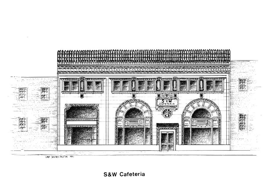 Asheville Drawing - SW Cafeteria Building by Lee Pantas