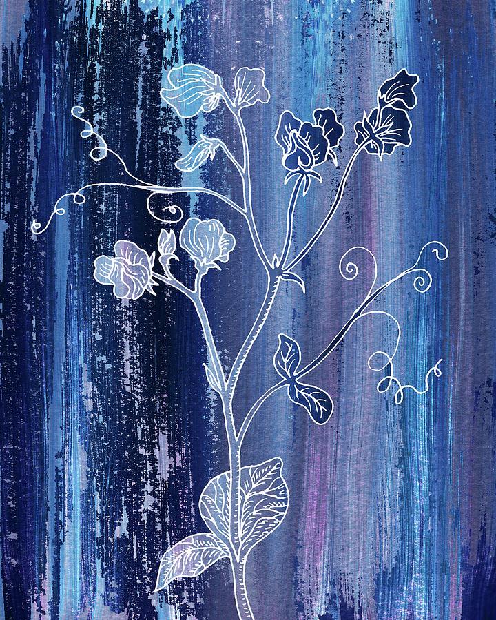 Sweet Pea Flower Blue Purple Rain On Marble Texture Decorative Art Painting