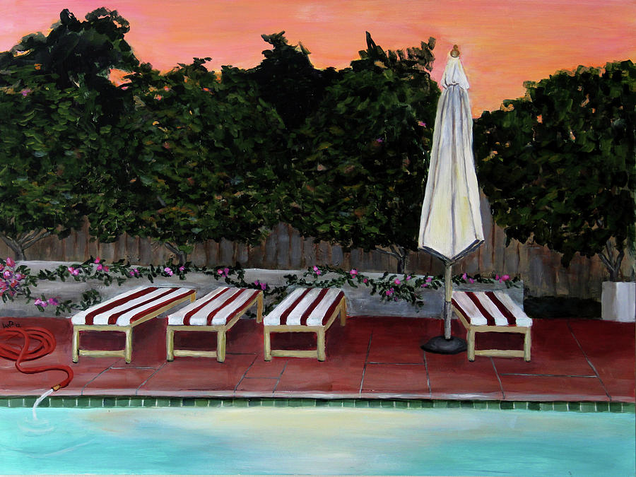 Dusk Painting - Swimming Pool at Twilight Painting by Linda Queally by Linda Queally