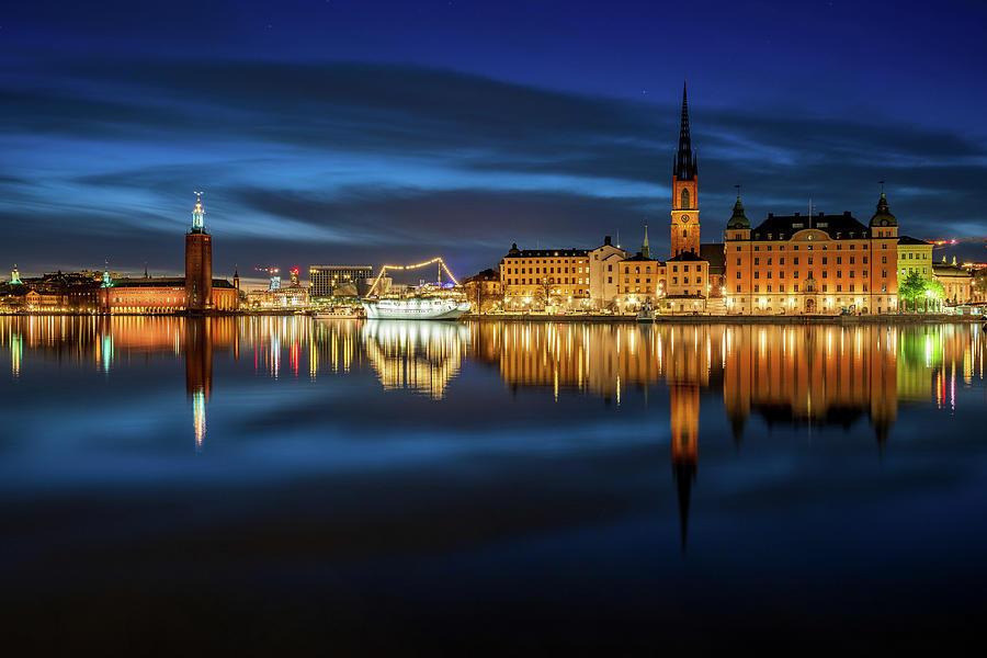 Stockholm Photograph - Swirly Stockholm City Hall and Riddarholmen reflection by Dejan Kostic