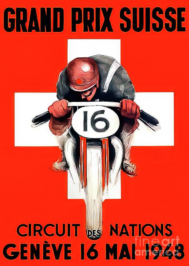 Switzerland 1948 Motorcycle Grand Prix Drawing