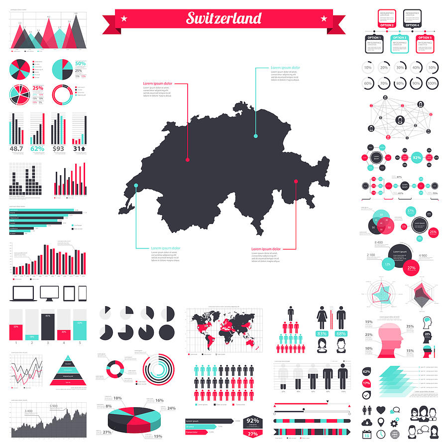 Switzerland map with infographic elements - Big creative graphic set Drawing by Bgblue