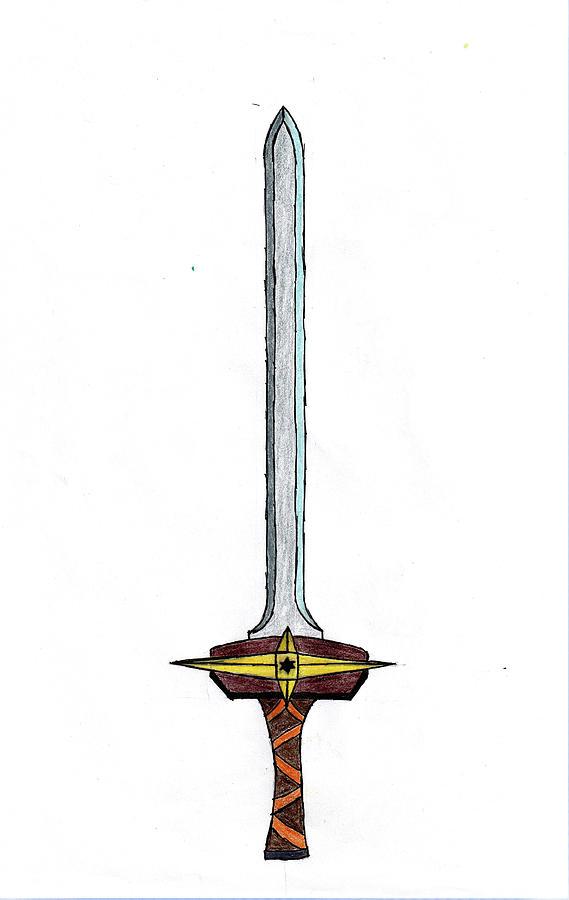 Sword Drawing - Sword Color Sketch by Sandeep Choudhary