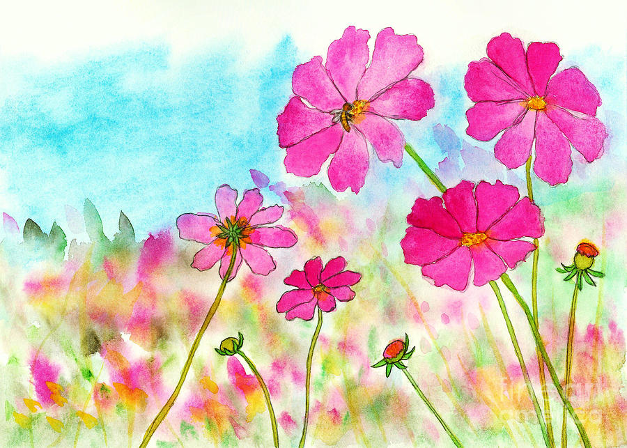 Watercolor Flowers Painting - Symphony in Pink, Watercolor Cosmos Flowers by Itaya Lightbourne