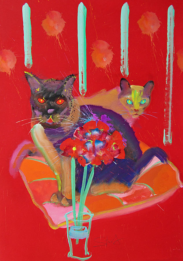 Burmese Cat Painting - Symphony In Red Two by Charles Stuart