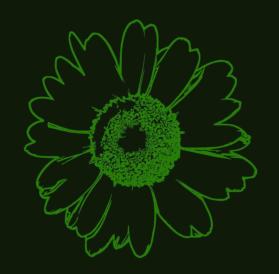Symply Green Flower Digital Art