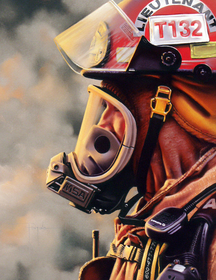 Fireman Pastel - T-132 by Dianna Ponting