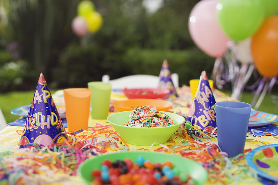 Table decorated for birthday party Photograph by Jupiterimages