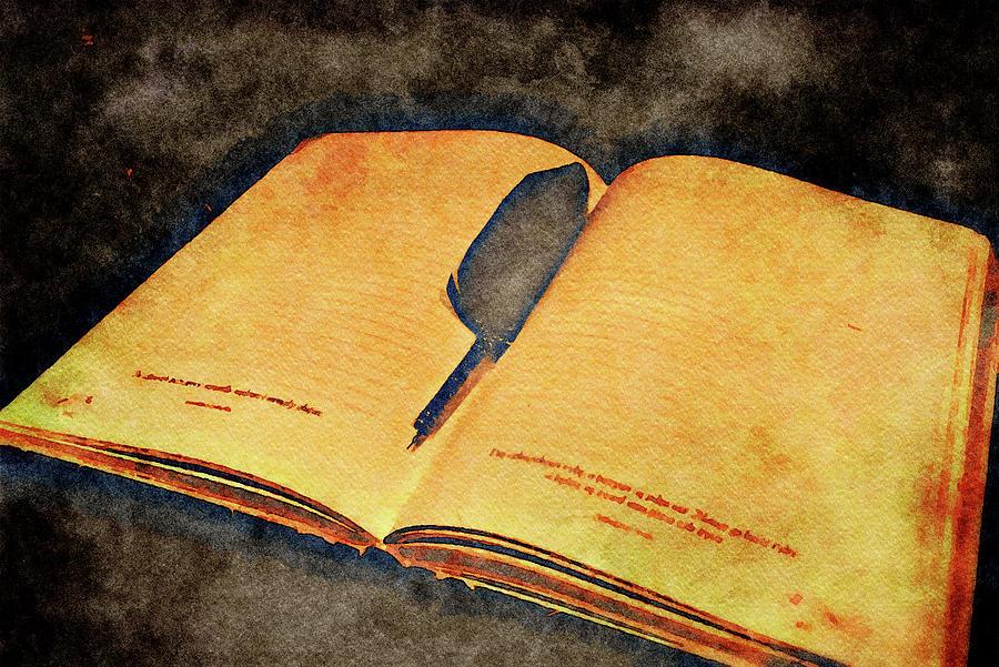 Tabula rasa - old open diary with pen by Patricia Piotrak