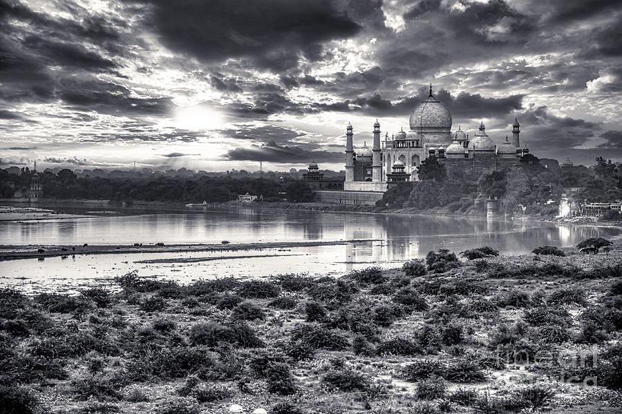 Taj Mahal Photograph - Taj Mahal From The Yamuna River - India BW by Stefano Senise