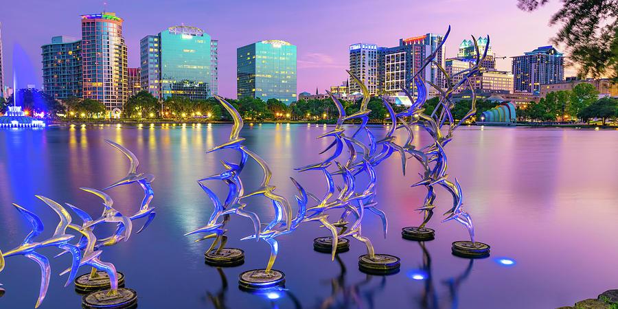 Take Flight Statues Panoramic View Of Lake Eola And Orlando Skyline Photograph