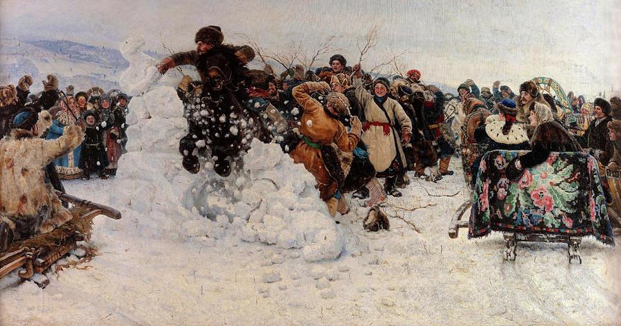 Vasily Surikov Painting - Taking a Snow Town, 1891 by Vasily Surikov