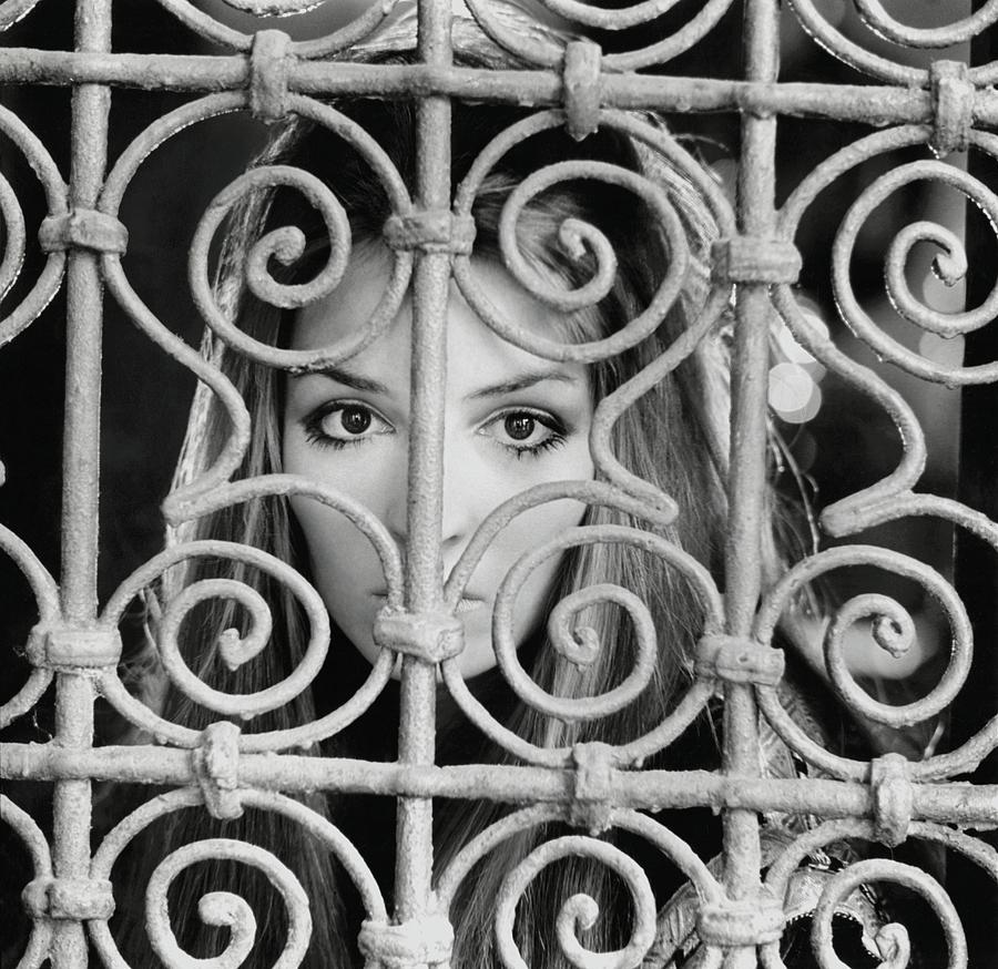 Talitha Getty Behind Ornate Grille Drawing by Patrick Lichfield