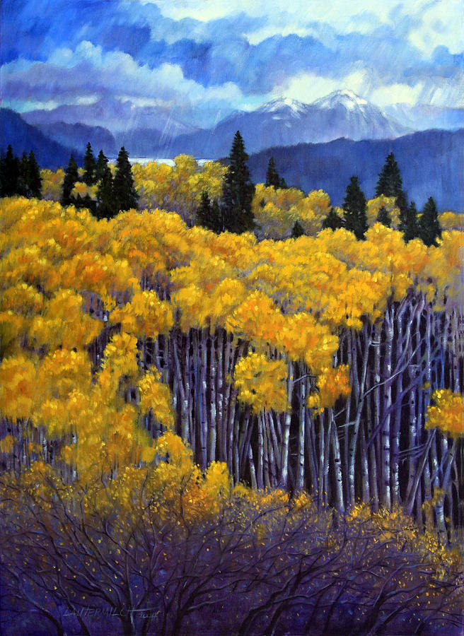Tall Aspens Painting by John Lautermilch