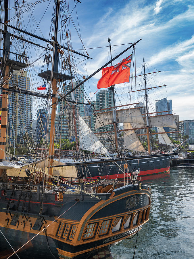 Tall Ships And Skyline Photograph