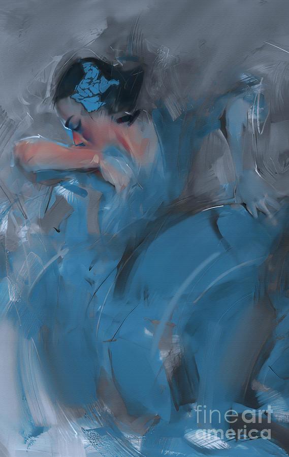 Tango Dancer Girl In Blue 01 Painting