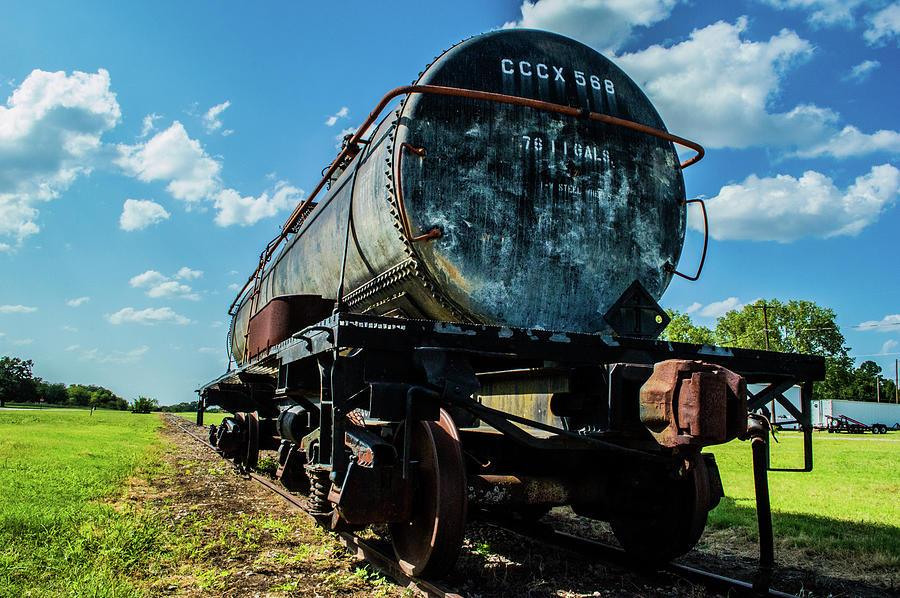 Smoke Photograph - Tanker on Texas Central Railroad by Peyton Vaughn