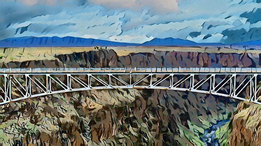 Bridge Digital Art - Taos Gorge Bridge by Aerial Santa Fe