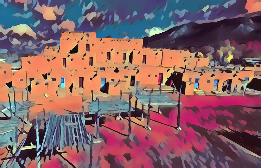 Native American Digital Art - Taos Pueblo Sunset by Aerial Santa Fe