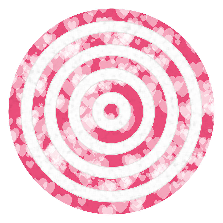 Target Photograph - Target for Valentines day-pink with hearts by Elena Sysoeva