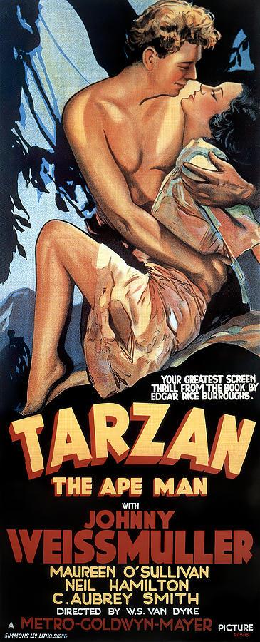 tarzan The Ape Man, With Johnny Weissmuller, 1932 Mixed Media