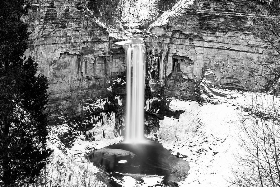 Taughannock Falls Winter Waterfall Trumansburg New York Taughannock State Park Black and White Snow by Toby McGuire