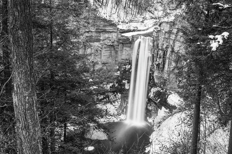 Taughannock Falls Winter Waterfall Trumansburg New York Taughannock State Park Black and White by Toby McGuire