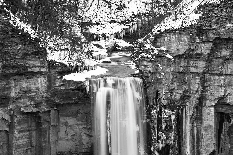 Taughannock Falls Winter Waterfall Trumansburg New York Taughannock State Park Black and White Top by Toby McGuire