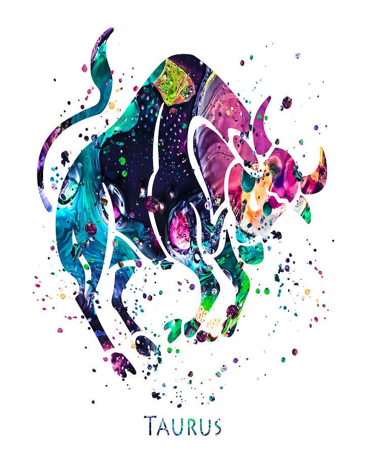 Taurus Painting - Taurus Zodiac Sign by Zuzi s