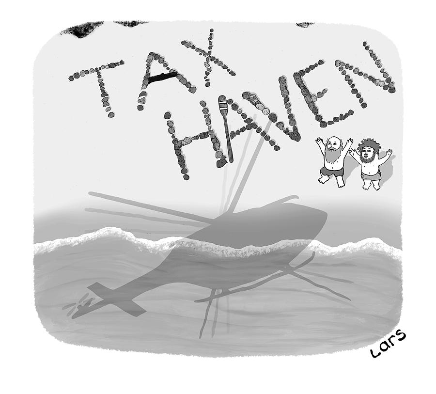 Tax Haven Drawing by Lars Kenseth