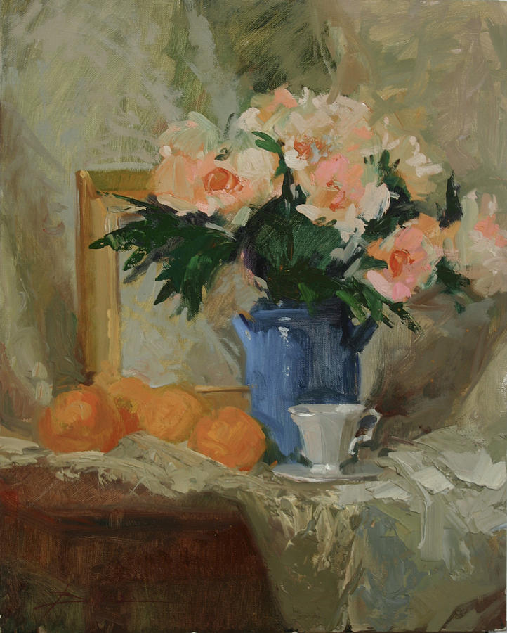 Still Life Painting - Tea And Roses by Betty J Billups