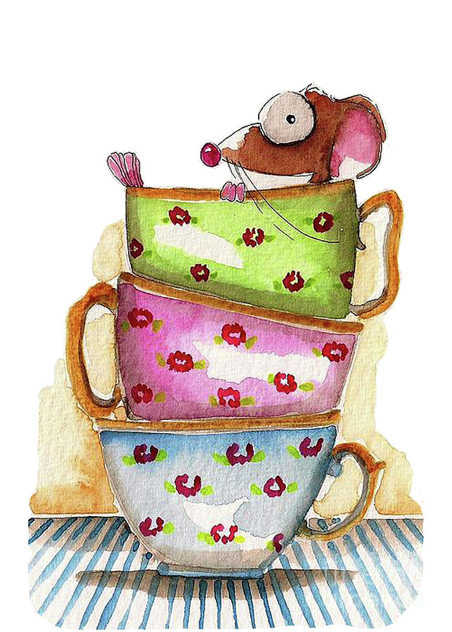 Mouse Painting - Tea for one by Lucia Stewart
