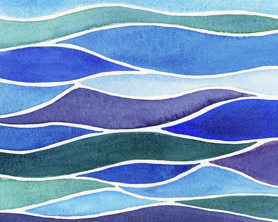 Teal Blue And Purple Abstract Ocean Waves Watercolor Painting