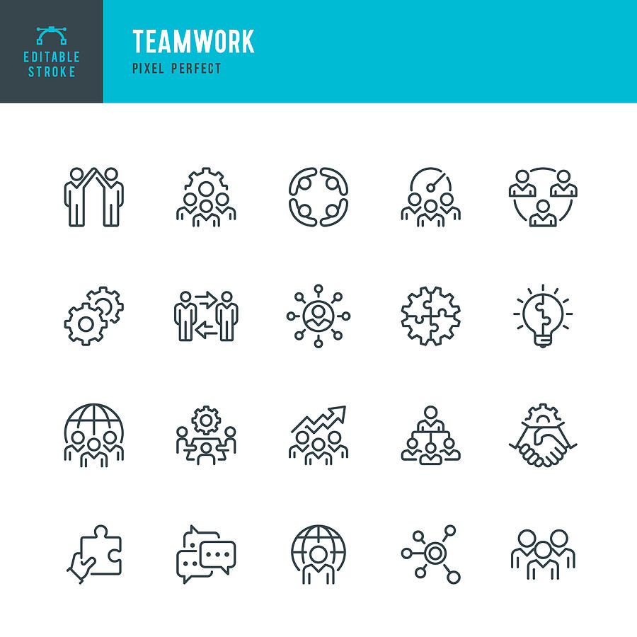 Teamwork - thin line vector icon set. Pixel perfect. Editable stroke. The set contains icons: Teamwork, Partnership, Cooperation, Group Of People, Corporate Business, Community, Brainstorming, Employee, Idea. Drawing by Fonikum