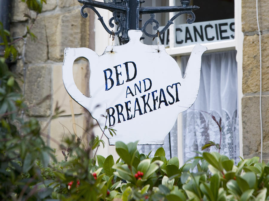 Teapot-shaped sign outside bed and breakfast. Photograph by David C Tomlinson
