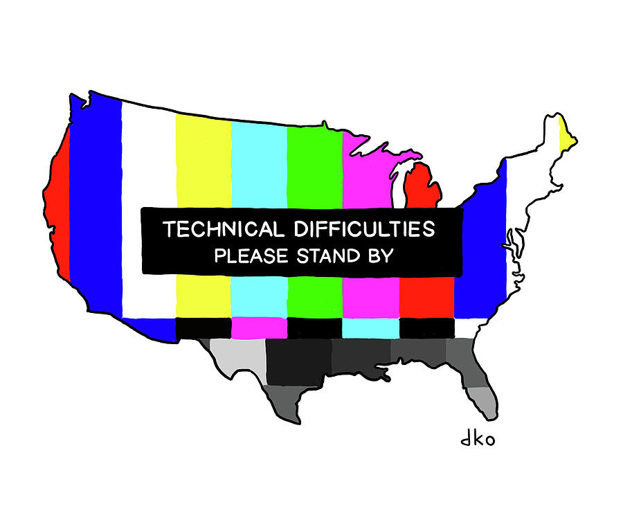 Technical Difficulties Drawing by David Ostow