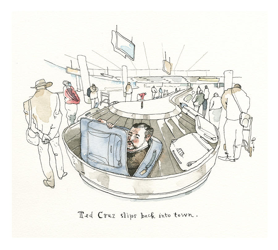 Ted Cruz Packs His Bags Painting by Barry Blitt