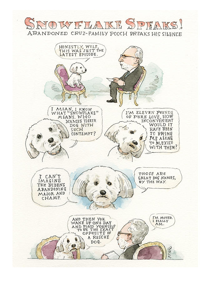 Ted Cruzs Dog Dishes Painting by Barry Blitt