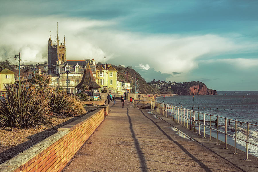 Teignmouth Photograph - Teignmouth Promenade in January by A J Paul