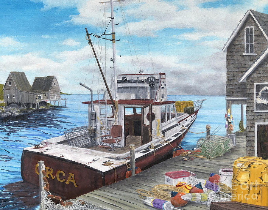 Jaws Painting - Tell Em Im Goin Fishing by Joseph Connelly