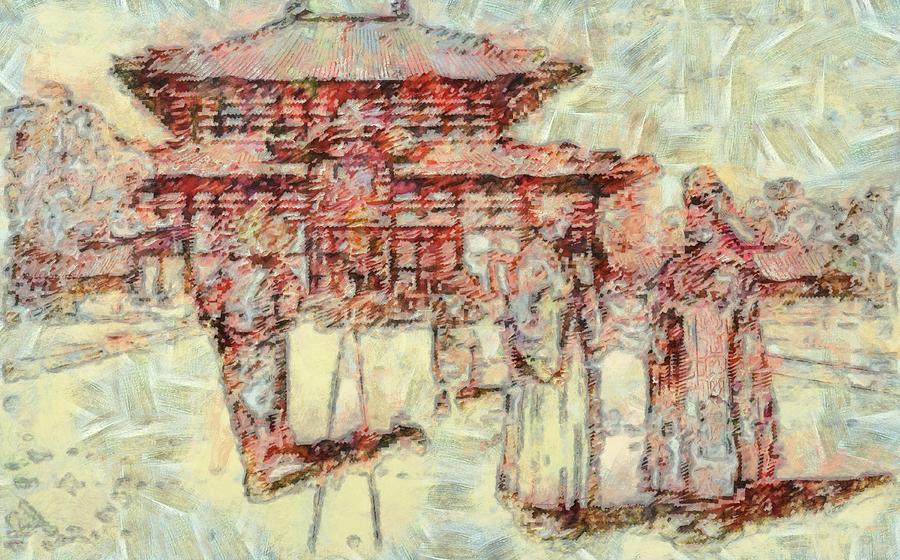 Temple Worship Digital Art
