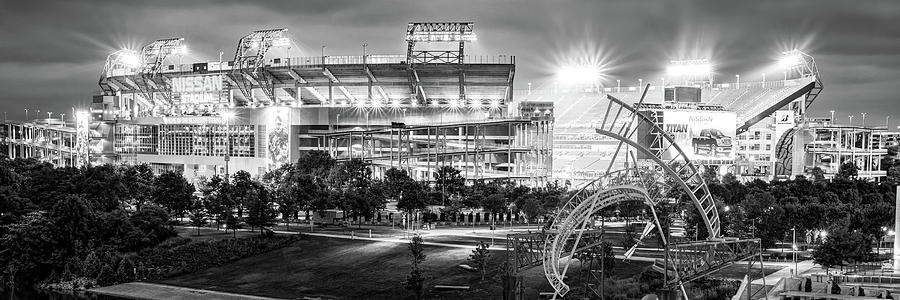 Tennessee Stadium In Nashville - Black And White Panorama Photograph