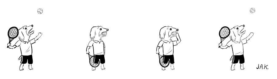 Tennis Dog Drawing by Jason Adam Katzenstein
