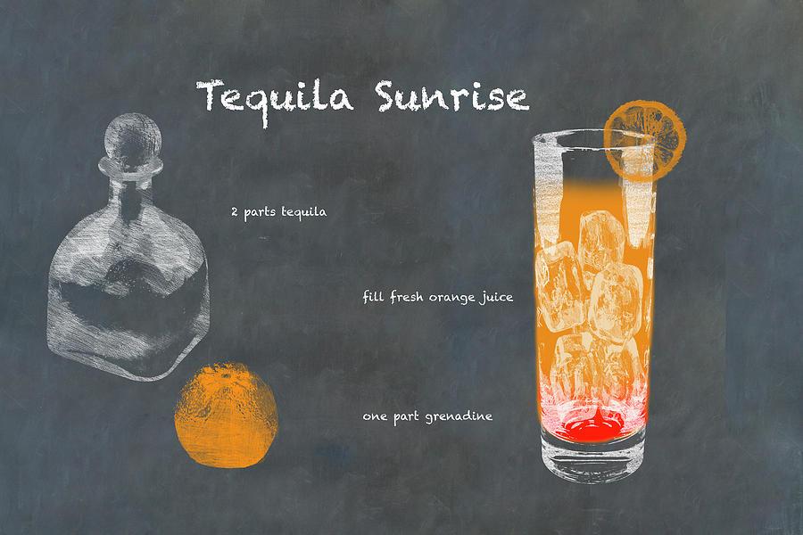 Tequila Sunrise Cocktail Photograph