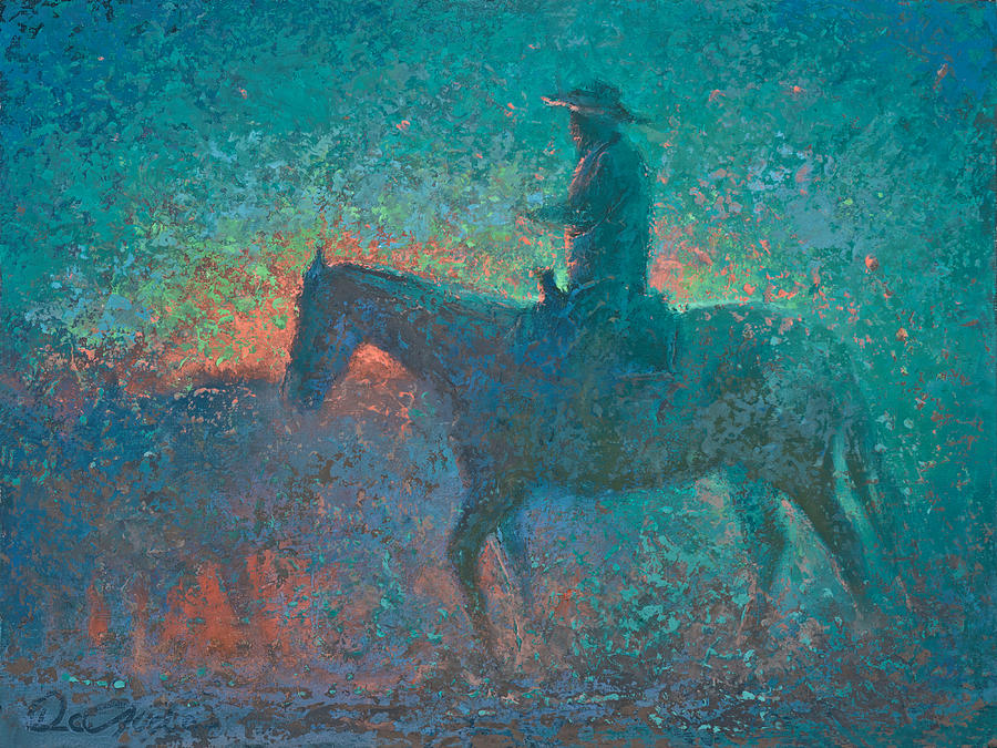 Cowboy Painting - Tequila Sunrise by Mia DeLode